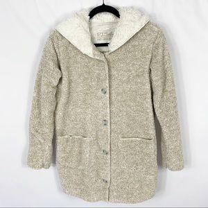 PJ Salvage Fuzzy Knit Cozy Oatmeal Hooded Cardigan